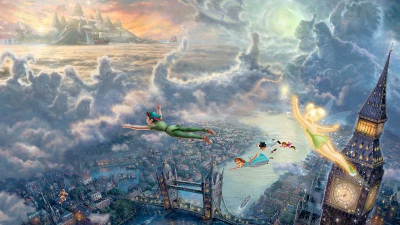 Imagen de Peter Pan volando sobre Londres