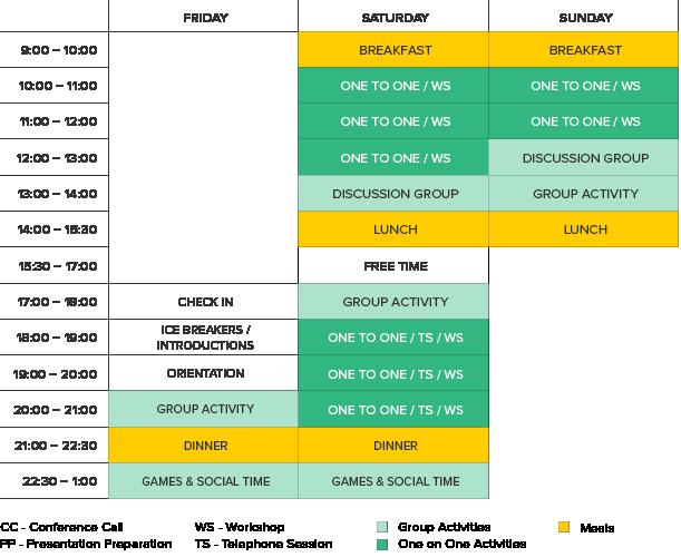 horario ejemplo fin de semana en inglés